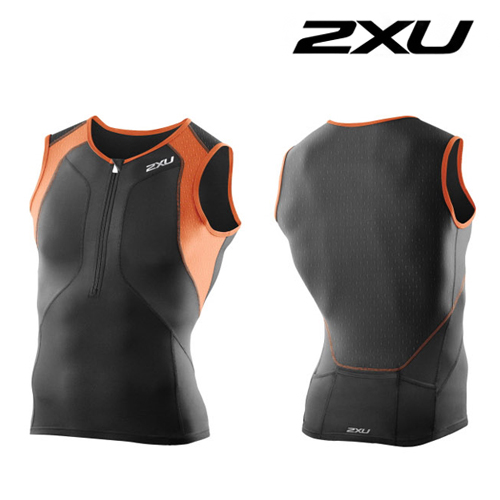 2XU(투엑스유)철인3종 경기복  Men′s Perform Compression Tri Singlet (MT3100a) Black Orange