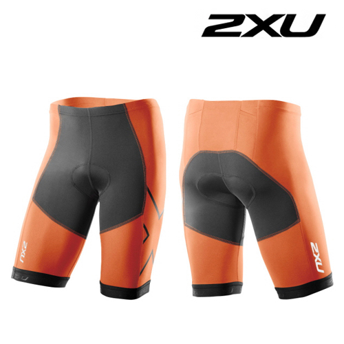 2XU 철인3종 경기복 2XU Men's Perform Compression Tri Short (MT3101b) Black Orange