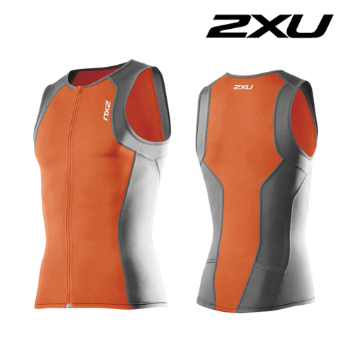 2XU(투엑스유)철인3종 경기복  2XU Men's G:2 Active Tri Singlet (MT3107a) Orange Charcoal