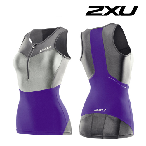 2XU 철인3종 경기복 2XU Women's G:2 Compression Tri Singlet (WT2702a) Purple Hue Charcoal