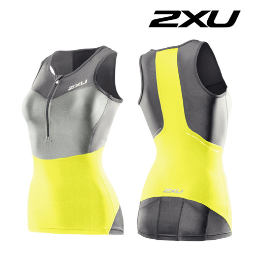 2XU 철인3종 경기복 2XU Women's G:2 Compression Tri Singlet (WT2702a) Charcoal Neon Yellow