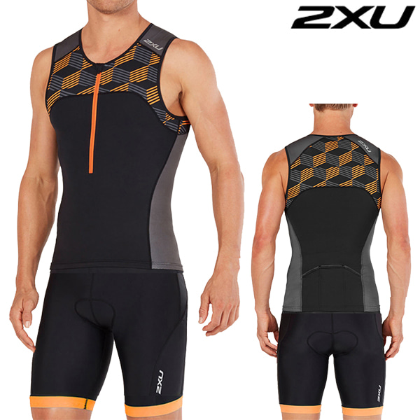 2XU 철인3종 경기복 Men's Active Trisuit MT4863a/MT4864b(Black/Orange)
