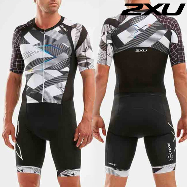 2XU 남성 철인3종 경기복 원피스 Men's Compression Sleeved Trisuit MT5516d BLK CRO