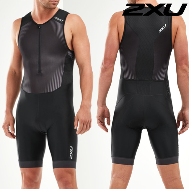 2XU 남성 철인3종 경기복 원피스 Men's Perform Front Zip Trisuit MT5526d BLK SDW