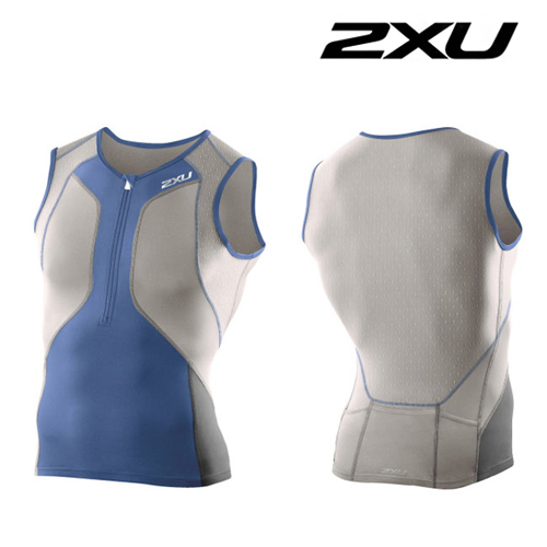 2XU 철인3종 경기복 Men′s Perform Compression Tri Singlet (MT3100a) Charcoal Blue