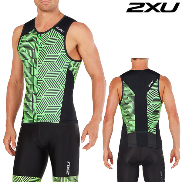 2XU 철인3종 경기복(투피스타입) Men's Perform Tri Set MT4851a/MT4854b(Black/Geo Neon Green)