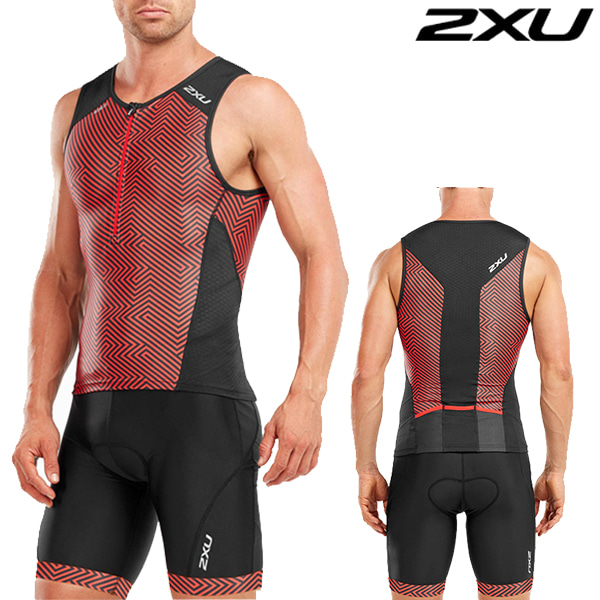 2XU 철인3종 경기복(투피스타입) Men's Perform Tri Set MT4851a/MT4854b(Black/Kona Team Red)