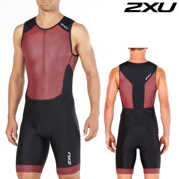 2XU 철인3종 경기복(원피스타입) Men's Perform Full Zip Sleeved TriSuit Black/Kona Team MT4848d Red