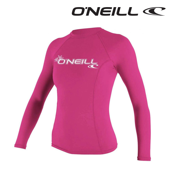 오닐 여성 래쉬가드 3549 W BASIC SKINS L/S RASH GUARD - FOX PINK