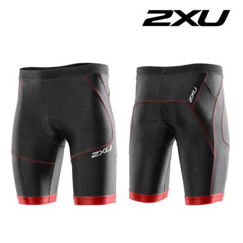 "2XU(투엑스유)철인3종 경기복  2XU Men's Perform 9"" Tri Short (MT2704b) Black Scarlet"