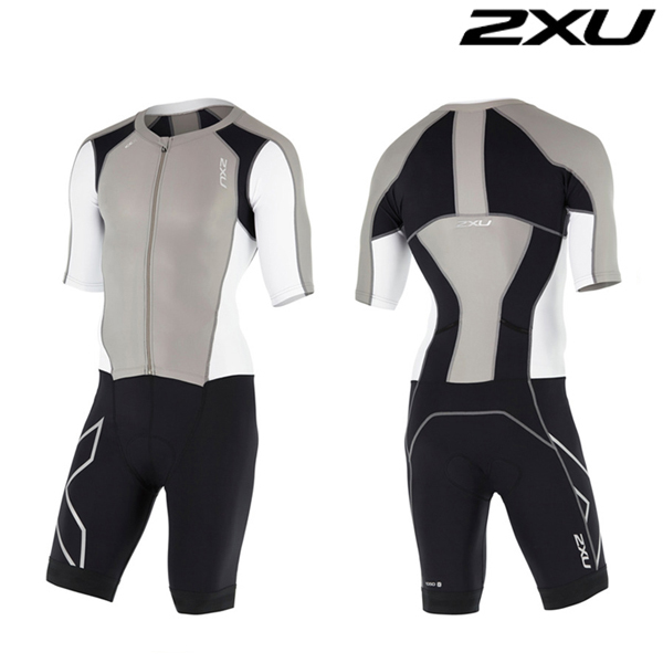 2XU 철인3종 경기복 Man's Compression Full Zip Sleeved Trisuit-MT4442d(FRG_WHT)