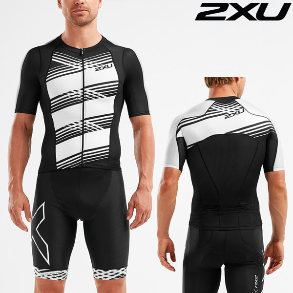 2XU(투엑스유)철인3종 경기복 Men's Compression Sleeved Top MT5518a-BLK/BWL