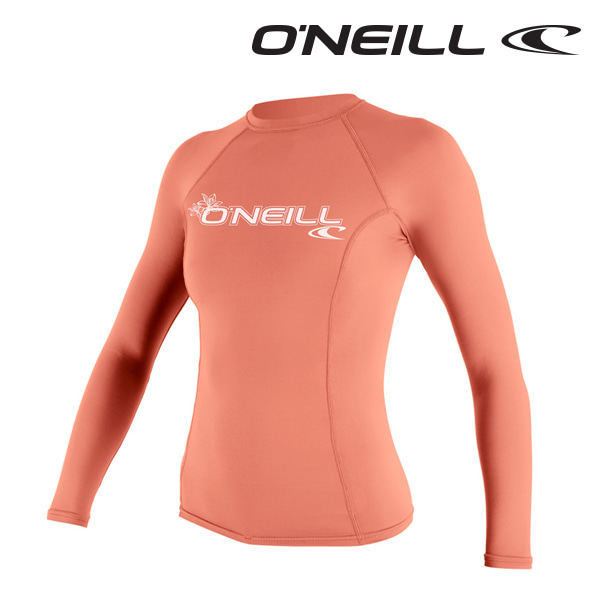 오닐 여성 래쉬가드 3549 W BASIC SKINS L/S RASH GUARD - LIGHT GRAPEFRUIT