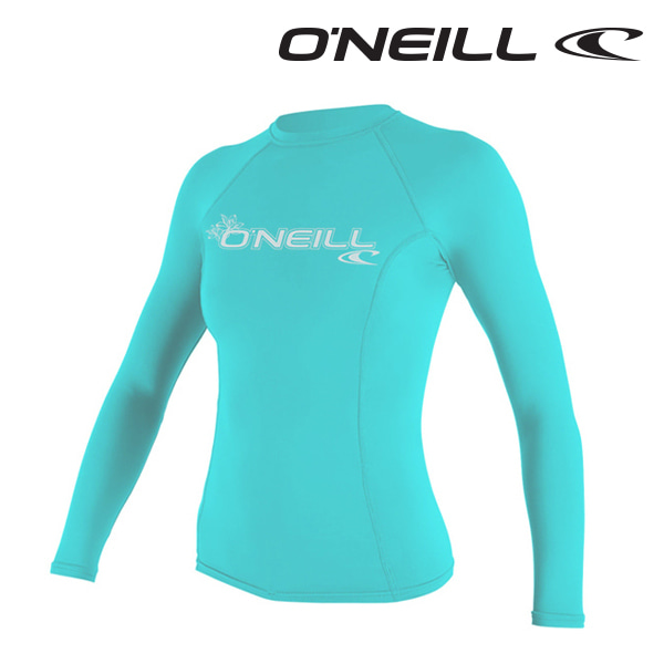 오닐 여성 래쉬가드 3549 W BASIC SKINS L/S RASH GUARD - LIGHT AQUA