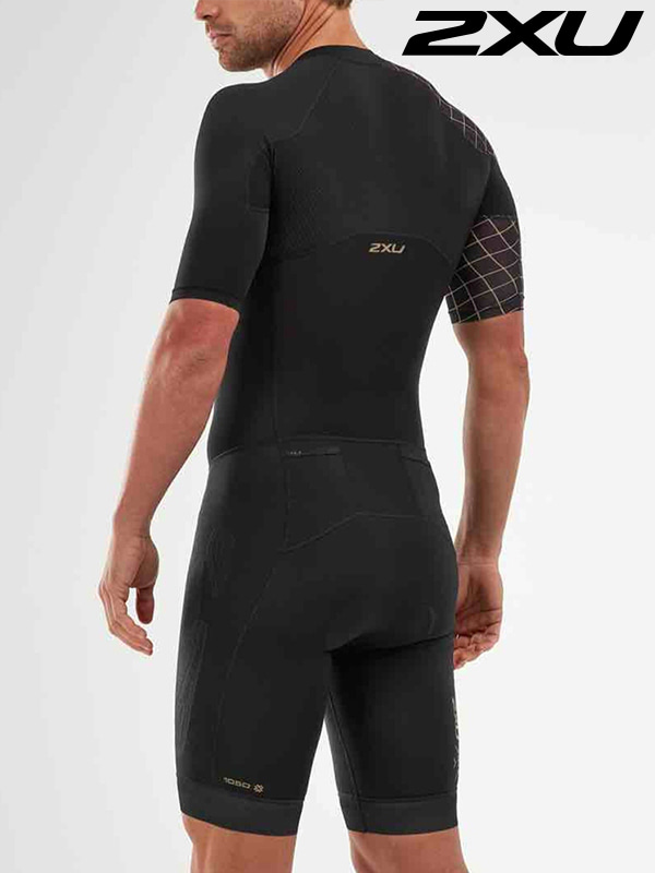 2XU 남성 철인3종 경기복 원피스 Men's Compression Sleeved Trisuit MT5516d BLK GLD
